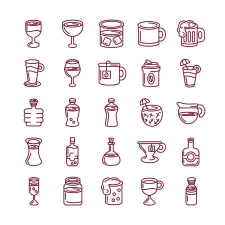 hot drinks and beverages icon set over white background, line style, vector illustration 矢量图像
