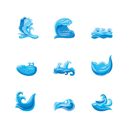 set of ocean waves with curling vector illustration design