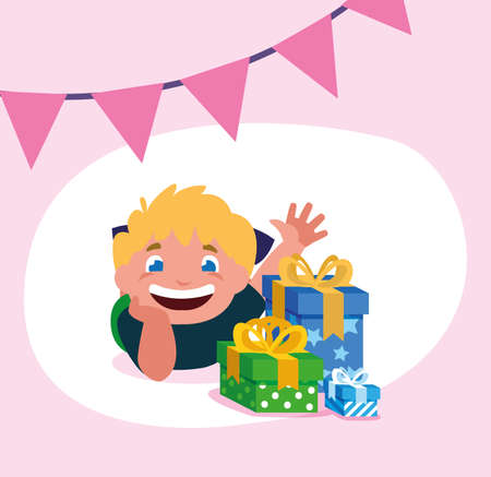 Boy cartoon with gifts design, Happy birthday card celebration decoration surprise party anniversay and invitation theme Vector illustration Vettoriali