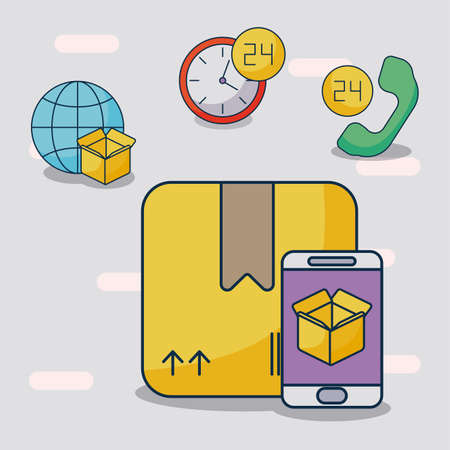 parcel delivery tracking on the smartphone vector illustration design Illusztráció