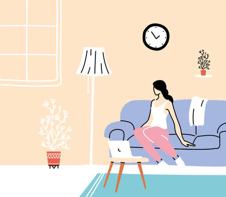 stay home, young woman working on laptop computer at home, Freelance, work at home, isolation and social distancing vector illustration design Foto de archivo - 151147383