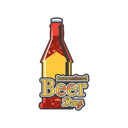 International beer day with brown bottle detailed style icon design, Festival pub alcohol bar and drink theme Vector illustration
