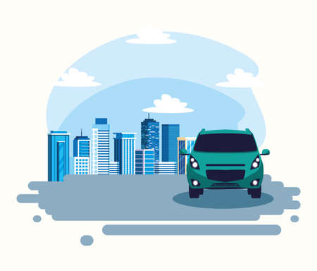 Car on the street in front of buildings design, Vehicle automobile auto transportation transport wheel automotive and speed theme Vector illustration