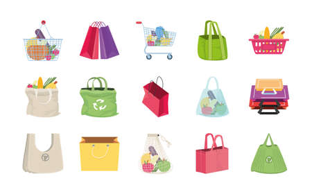 set of icons shopping bags on white background vector illustration design