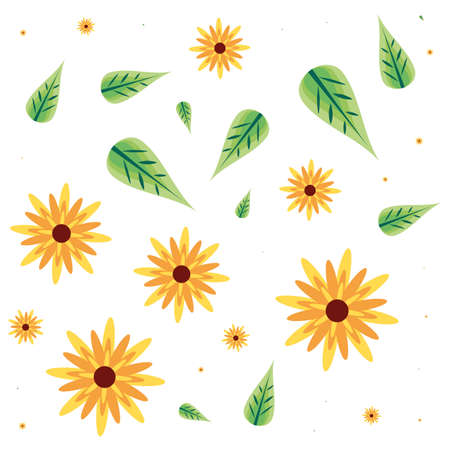 pattern of beautiful flowers and leafs vector illustration design Ilustrace