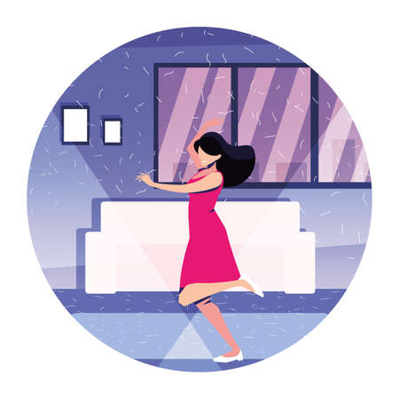 woman dancing in home , party, music and nightlife vector illustration design