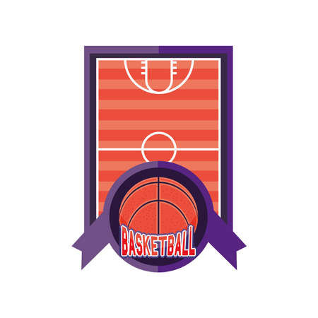 Field with ball detailed style icon design, Basketball sport hobby competition and game theme Vector illustration