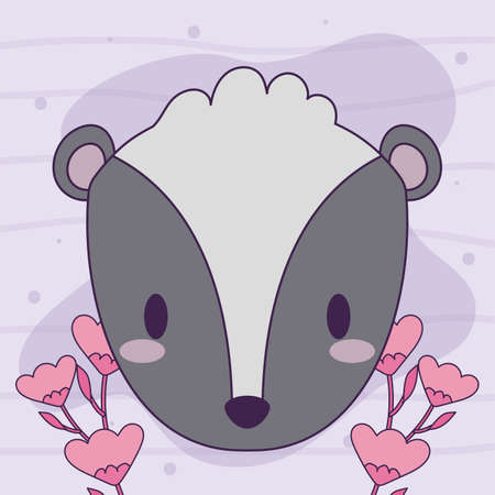 cute head skunk baby animal kawaii vector illustration design Illustration