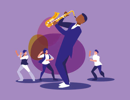 Musician with saxophone and dancers design, Music festival sound melody song musical art and composition theme Vector illustration Ilustrace