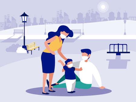 Family with masks at park design of Covid 19 virus theme Vector illustration 免版税图像 - 151148958