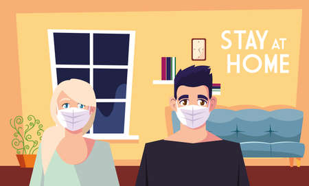 stay at home awareness social media campaign and coronavirus prevention, couple share in the home vector illustration design