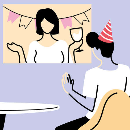 Man with party hat and screen in video chat design, Happy birthday celebration party call and conference theme Vector illustration Ilustrace