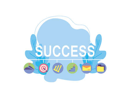 set of icons success of business vector illustration design Vettoriali