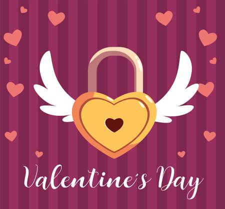 valentines day label with heart shaped padlock vector illustration design Stock Illustratie