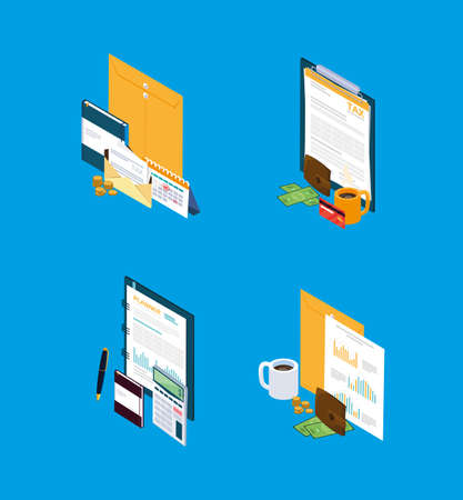 set icons of tax day vector illustration design