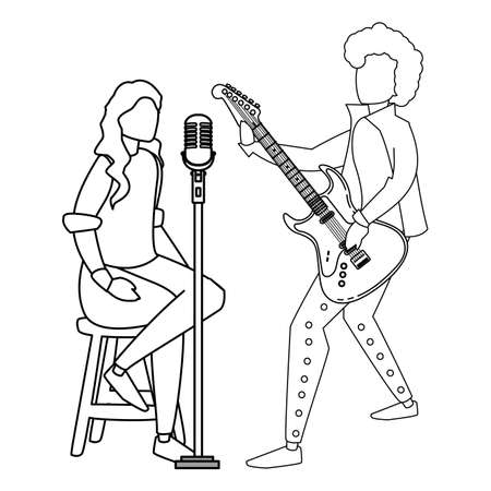 singer and musician couple characters vector illustration design Ilustração