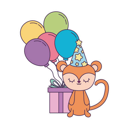 cute monkey with gift box and balloons helium vector illustration design