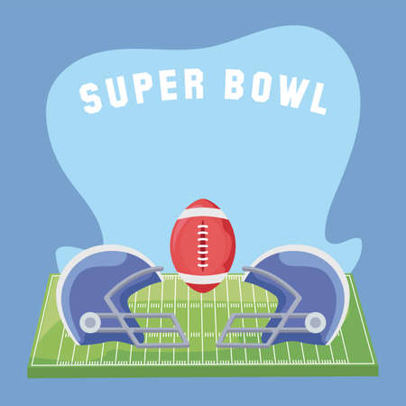Ball and helmets over field design, Super bowl american football sport hobby competition game training equipment tournement and play theme Vector illustration