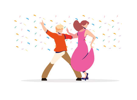 couple of people in dance pose, party, dance club vector illustration design
