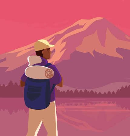 Hiker man with bag and landscape design, Walker excursionist rambler tripper tourist travel trip tourism and journey theme Vector illustration  イラスト・ベクター素材