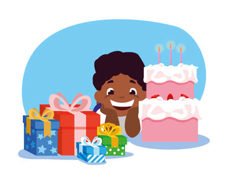 Boy cartoon with cake and gifts design, Happy birthday card celebration decoration surprise party anniversay and invitation theme Vector illustration Vettoriali