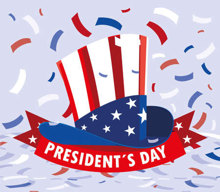 president day greeting card, hat in american flag colors vector illustration design Illusztráció