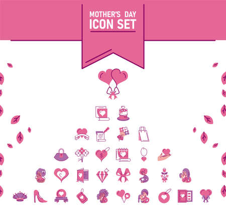 set of icons mother day, half line and color style icon vector illustration design
