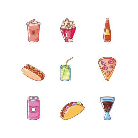 set of icons food on white background vector illustration design 向量圖像