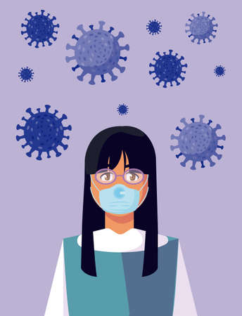 woman with mask design of medical care and covid 19 virus theme Vector illustration