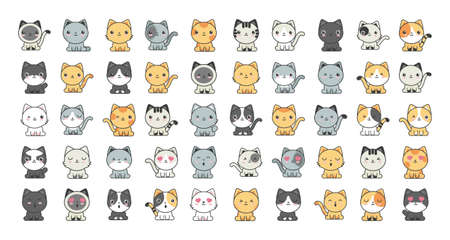 set of cute cats on white background vector illustration design