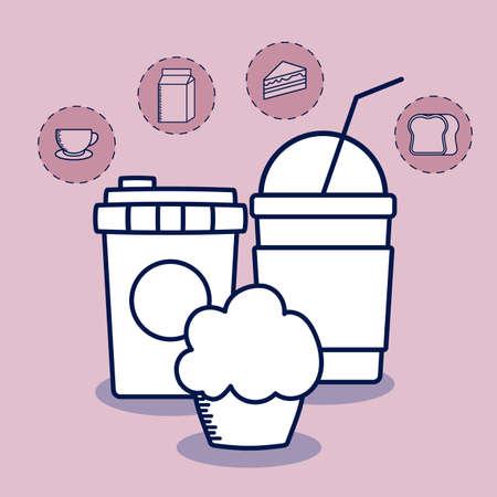 delicious milkshake with set food vector illustration design