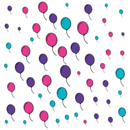 pattern of balloons helium backdrop vector illustration design Reklamní fotografie - 151153364