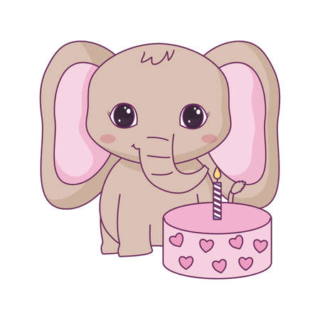 cute elephant animal with cake of birthday vector illustration design Ilustracja