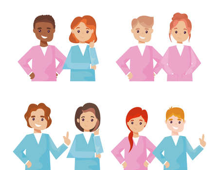 group of nurses in different poses on white background vector illustration design Çizim