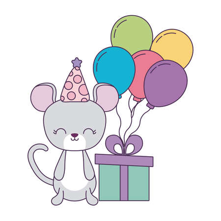 cute mouse with gift box and balloons helium vector illustration design Çizim