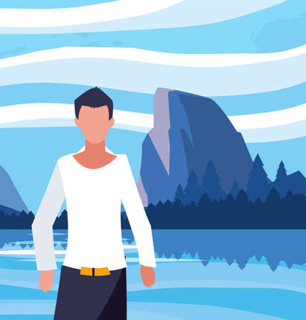 Avatar man in front of landscape design, Boy male person people human social media and portrait theme Vector illustration 向量圖像