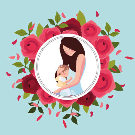 woman and son, card of the mother day vector illustration design Illusztráció
