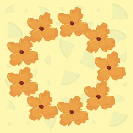floral wreath flowers decoration summer vector illustration