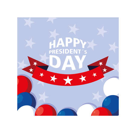 label happy president day, greeting card, United States of America celebration vector illustration design