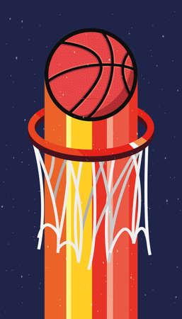 basketball sport ball on basket vector illustration  イラスト・ベクター素材