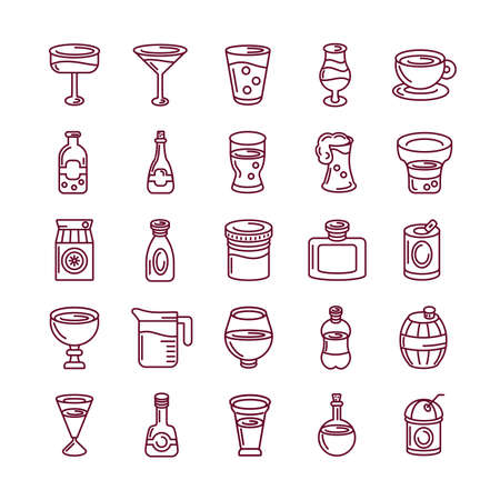 drinks and cocktails icons set over white background, line style, vector illustration 免版税图像 - 151153988