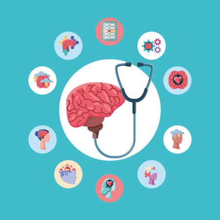 set of icons mental health vector illustration design