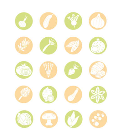 colorful healthy vegetables icon set over white background, block style, vector illustration