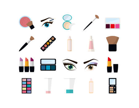 Icon set design, Make up cosmetic fashion style glamour skin facial and glamour theme Vector illustration Illusztráció