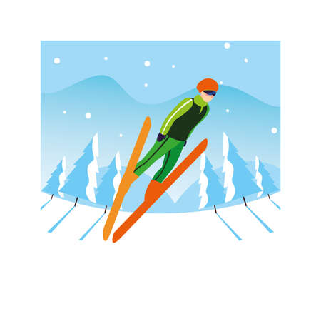 man with mountain ski in landscape of winter vector illustration design