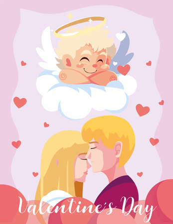 greetings card for valentines day, couple in love and sweet cupid angel vector illustration design