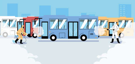 service bus desinfection by covid 19 vector illustration design