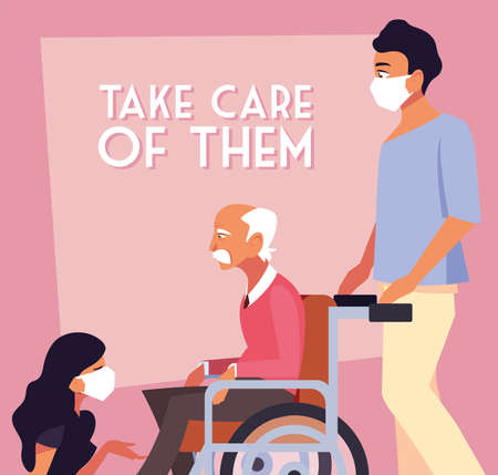 people take care of old man in wheelchair, label take care of them vector illustration design