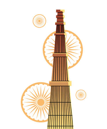 famous temples and monuments of india vector illustration design 矢量图像