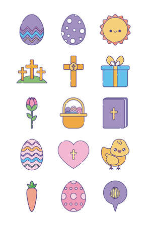 Happy easter flat style icon set design, Spring decoration holiday greeting ornament celebration festive season tradition and festival theme Vector illustration
